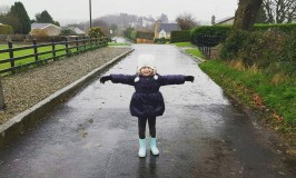 Playing in the rain! The most fun a four year old can have!